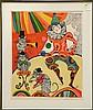 Print, Judith Bledsoe, Clown and Three Cats, Judith Bledsoe, Click for value