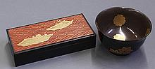 Japanese Black Lacquered Box and Bowl in Makie