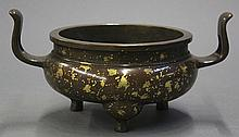 Chinese Bronze 'Gold Splashed' Censer