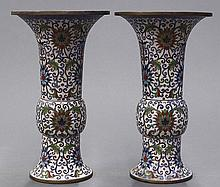 Chinese Gu Form Cloisonne Vases