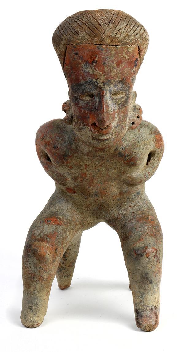 Pre Columbian Nayarit Terracotta Bench Figure
