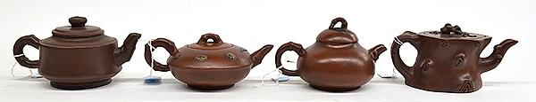 Four Chinese Yixing Tea Pots