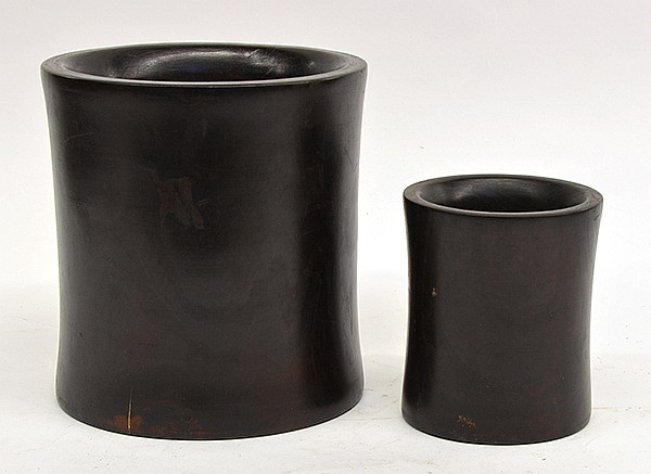 Two Chinese Dark Wood Brush Pots