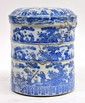 Japanese Blue-and-White Porcelain Tiered Container