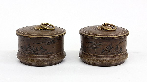 Chinese Yixing Ceramic Chess Containers