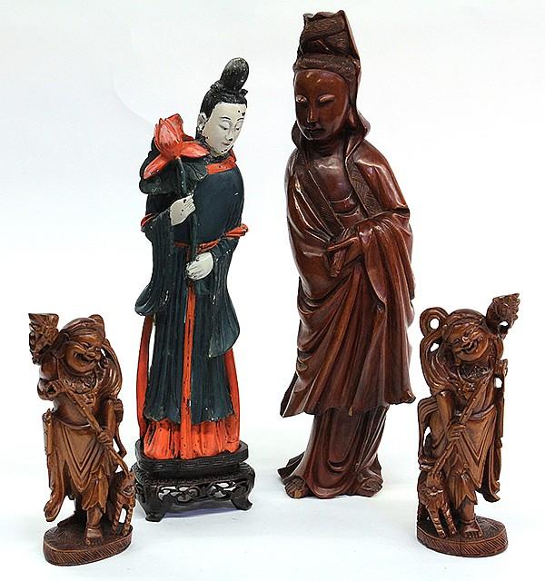 Chinese Carved Figures, Bodhisattva, Liuhai