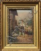(lot of 2) Framed color lithographs with oil embellishments mounted on wood panels, Scenes with Children, European School (20th cent...