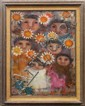 Framed oil on canvas, Children with Sunflowers, 1968, by Carol Jablonsky (American, 1939-1992), signed and dated lower left, overall...
