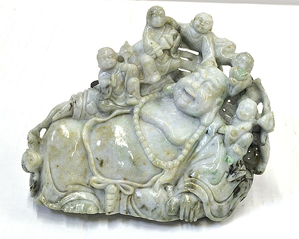 Chinese Jadeite Budai with Children