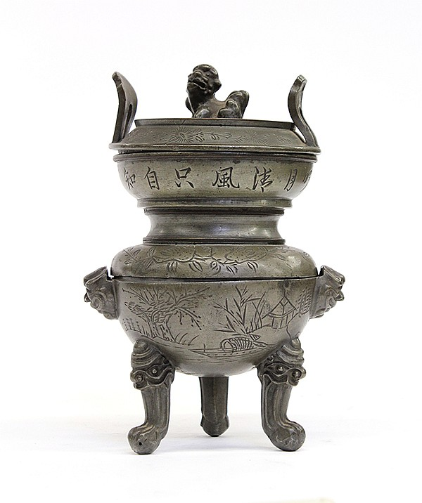 Chinese Pewter Tripod Censer