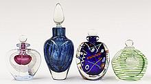 Group of art glass stoppered bottles