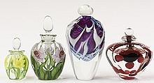 Group of art glass stoppered bottles by Lundberg Studios