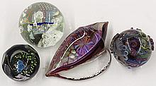 Art glass paperweight group