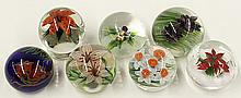 Lundberg Studios floral art glass paperweights