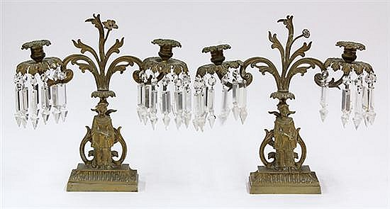 Pair of Victorian gilt metal candelabra