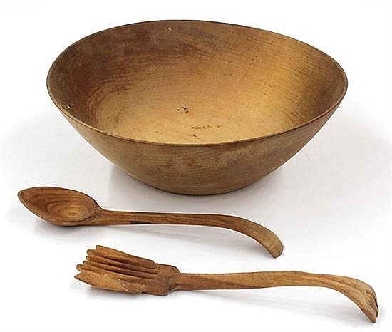 Arthur Espenet Carpenter wood turned salad bowl and utensils