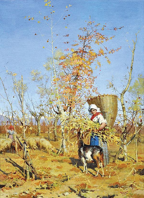 Painting, Luigi Cima, Girl with Basket and Goat