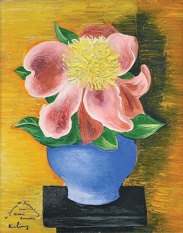 Painting, Moise Kisling, Flowers in Blue Vase