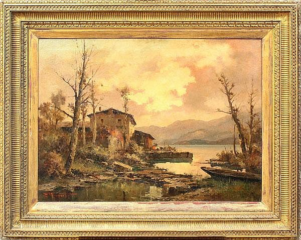Painting, Ercole Magrotti, Cottage Harbor