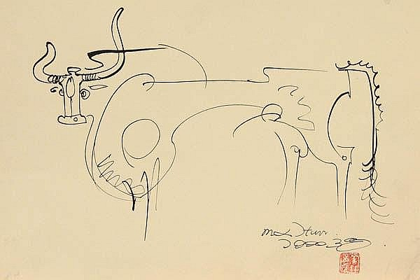 Chinese Drawing, Han Meilin(after), Ox