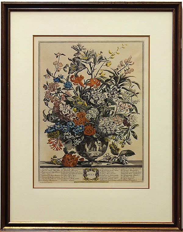 Henry Fletcher, August, July, October, hand-colored engravings
