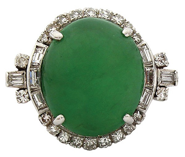 Fine jadeite and diamond ring in platinum GIA