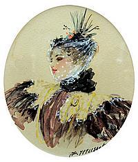 Alfred De Musset, Portrait of a Lady, watercolor on paper
