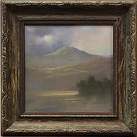 """Johannes Reimers, """"Sunlit Mt. Tamalpais,"""" oil pastel"""