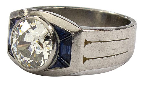 Gentleman's platinum Old European cut diamond synthetic sapphire ring