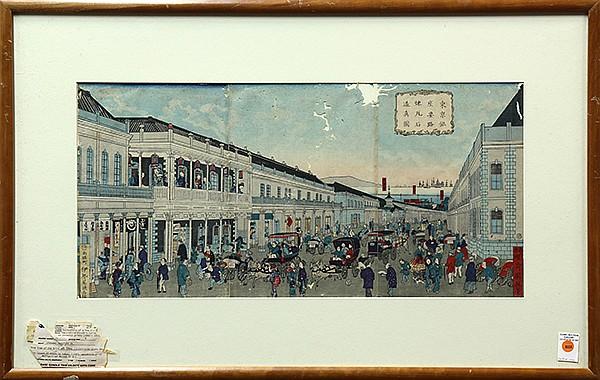 Japanese Woodblock Prints, Kuniteru II, Ginza 19c