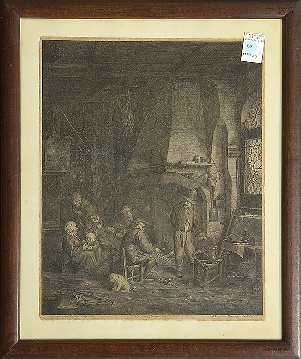 Print, Nikolas Visscher, Villagers by the Grand Fireplace