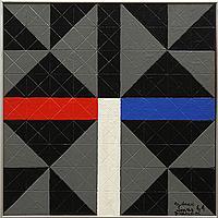 "Sidney Jonas Budnick, ""Classic in Blue/Red,"" Oil on board"