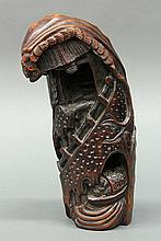 Chinese Carved Bamboo Segment, Landscape