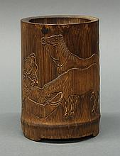 Chinese Bamboo Brush Pot, Horse