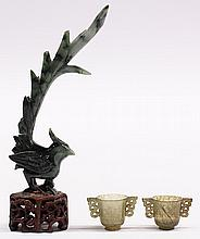 Three Chinese Jade Phoenix and Cups