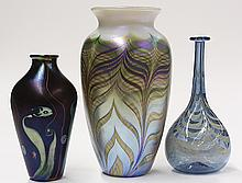 Lundberg Studios group consisting of an iridescent art glass vase