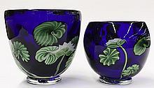(lot of 2) Lee Hudin for Orient & Flume art glass vases