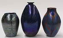 (lot of 3) Iridescent art glass vase group