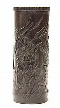 Chinese Carved Bamboo Vase, Landscape