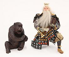 Japanese Wooden Monkey and Musha Ningyo