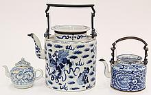 Three Chinese Blue and White Porcelain Tea Pots