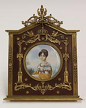 Framed porcelain miniature plaque depicting Hortense