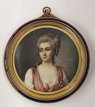 Continental style miniature portrait plaque of a beauty