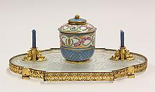 Sevres porcelain and gilt bronze mounted inkstand
