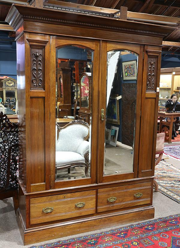 english art nouveau linen chest or armoire early 20th centu. Black Bedroom Furniture Sets. Home Design Ideas