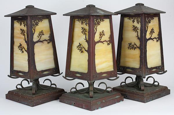 Copper Arts and Crafts style exterior garden lanterns, the boxed pillar lights with cream slag glass and tree branches cut-outs, 15
