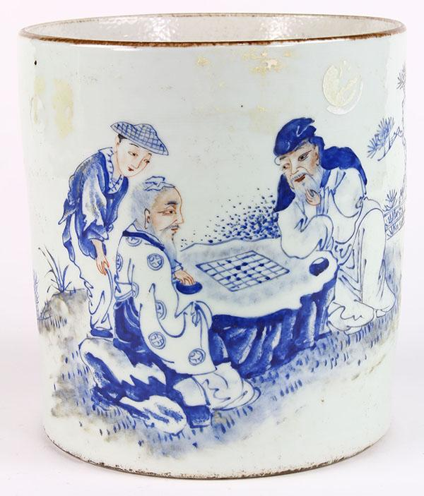 Chinese Porcelain Brush Pot, Playing Chess