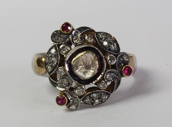 Diamond, ruby, gold and silver ring