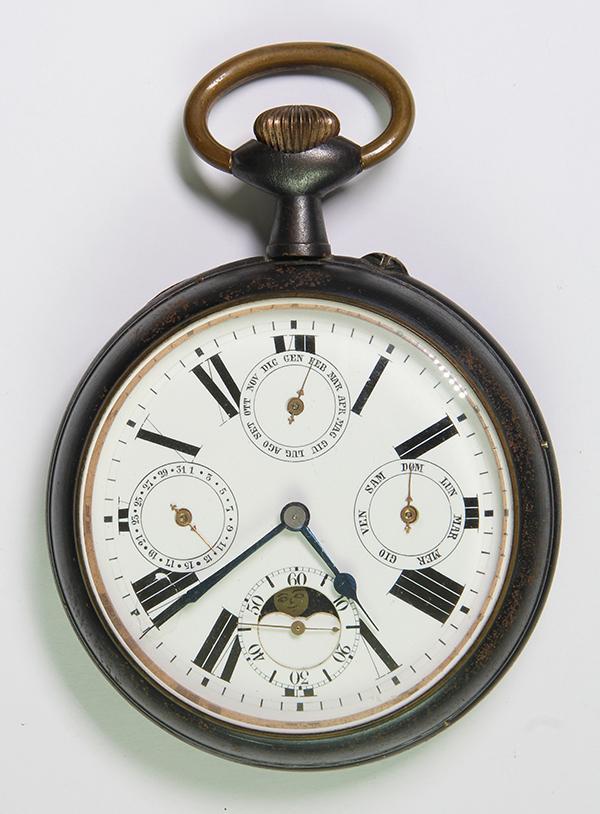 Calendar moonphase gunmetal Openface Clock