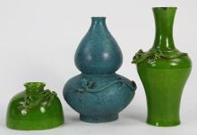 Three Chinese Vases and Water Coupe